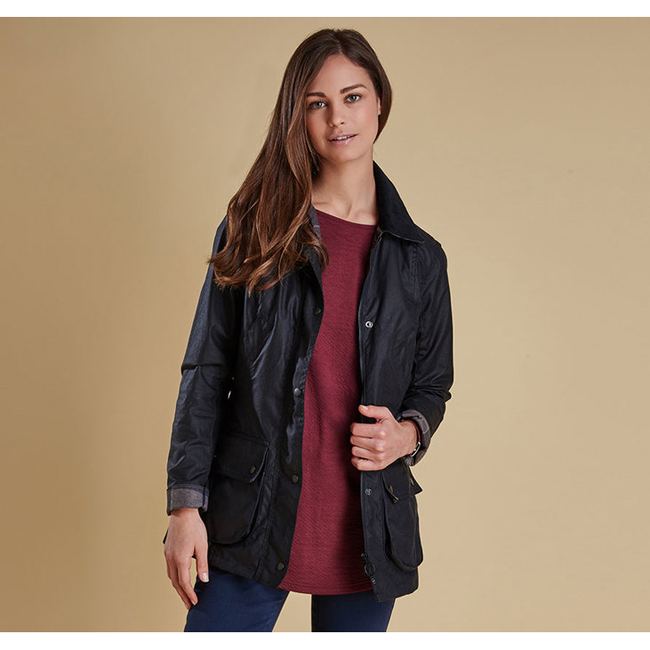 Barbour STRAITON WAX JACKET Women Navy Outlet Store