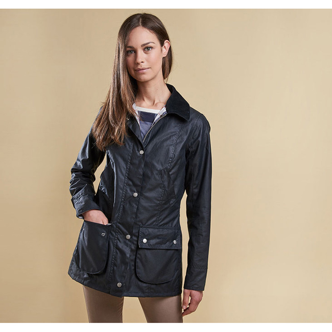 Barbour IONA WAX JACKET Women Navy / Summer Tartan Outlet Store