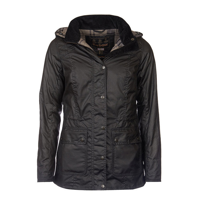 Cheap Barbour Women Black / Navy Winter Tarta  ORKNEY WAX JACKET Online