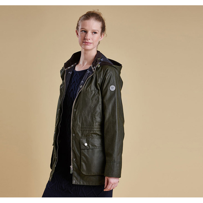 Barbour BRAE WAX PARKA JACKET Women Seaweed Outlet Store