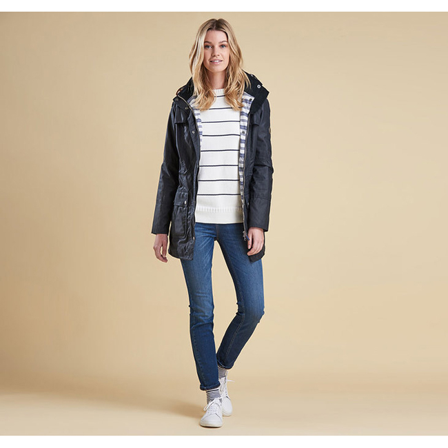 Barbour BARNACLE WAX JACKET Women Navy  Outlet Store