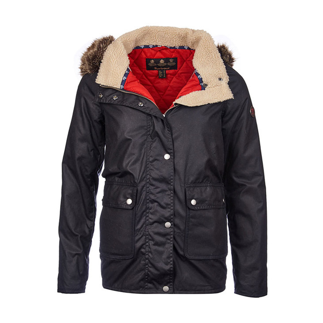 Barbour CREVASSE WAX PARKA JACKET Women Navy / Lighthouse Red  Outlet Store