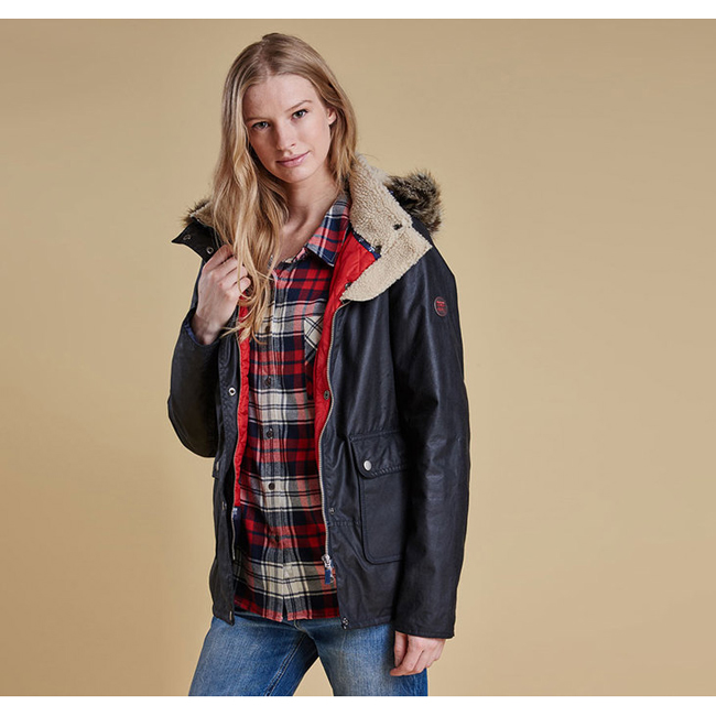 Cheap Barbour Women Navy / Lighthouse Red  CREVASSE WAX PARKA JACKET Online