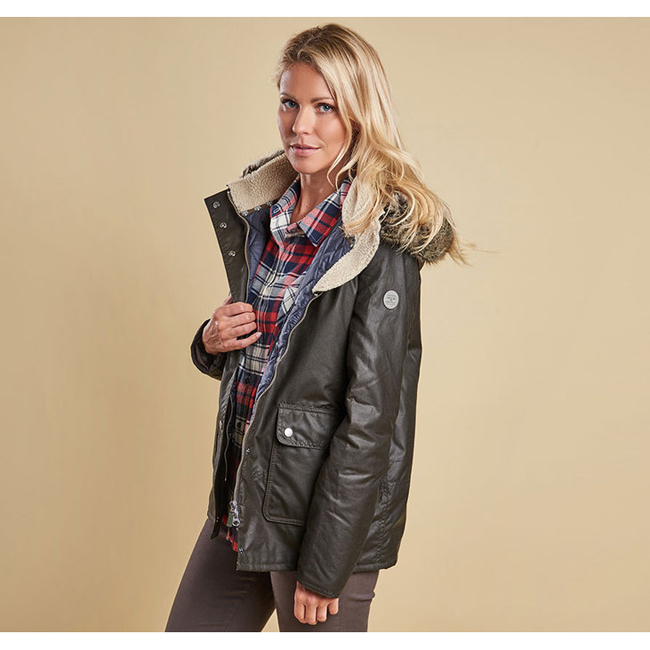 Cheap Barbour Women Olive / Navy CREVASSE WAX PARKA JACKET Online