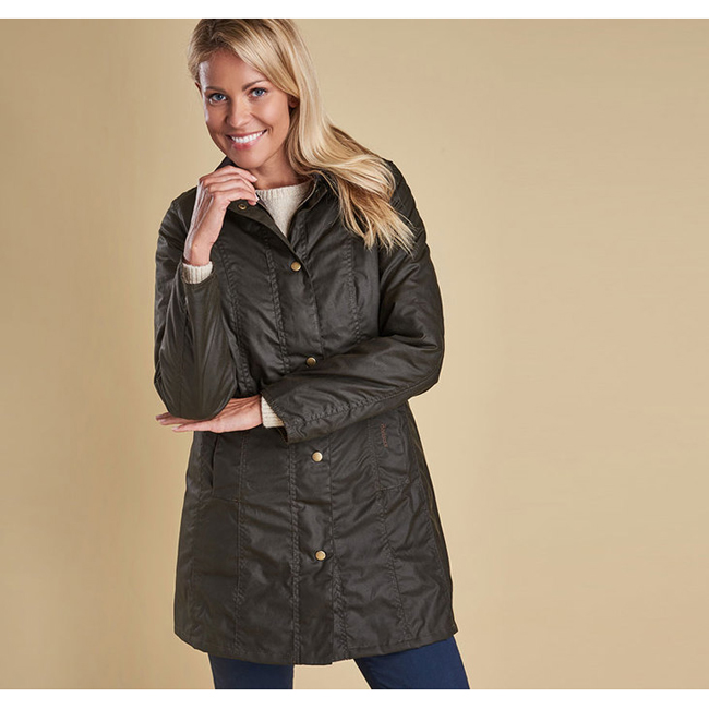 Barbour BELSAY WAX JACKET Women Olive Outlet Store