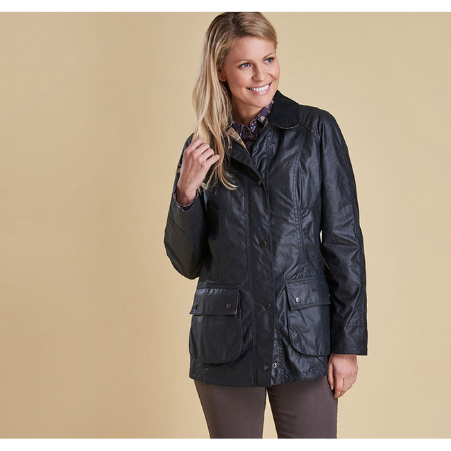Cheap Barbour Women Navy BEADNELL WAX JACKET Online