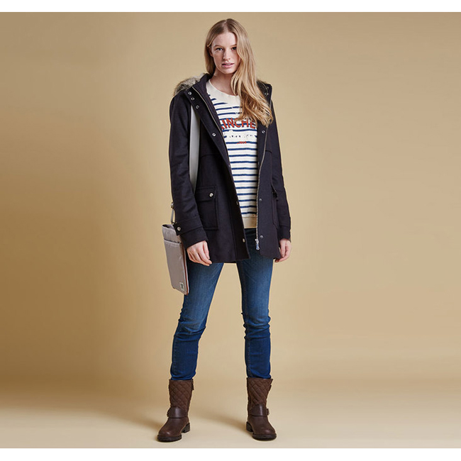 Barbour Fendorf Wool Jacket Women Navy Outlet Store